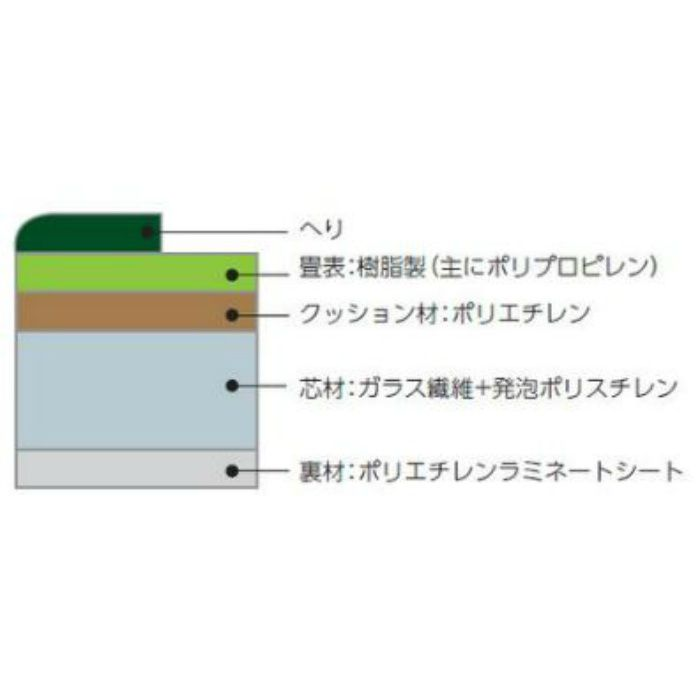 TC19051-2 ウォッシャブル畳「きよらか」 本間半帖(955×955mm) 畳へり(No.2)
