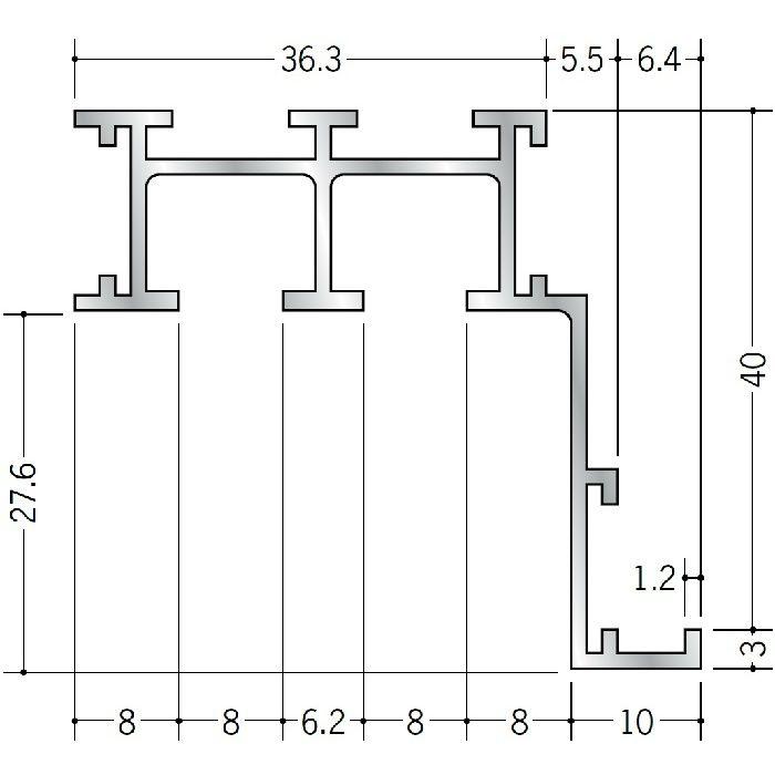 ピクチャーレール ブラケットタイプ アルミ PR-50F用サイドカバー(左用) シルバー 57026-4