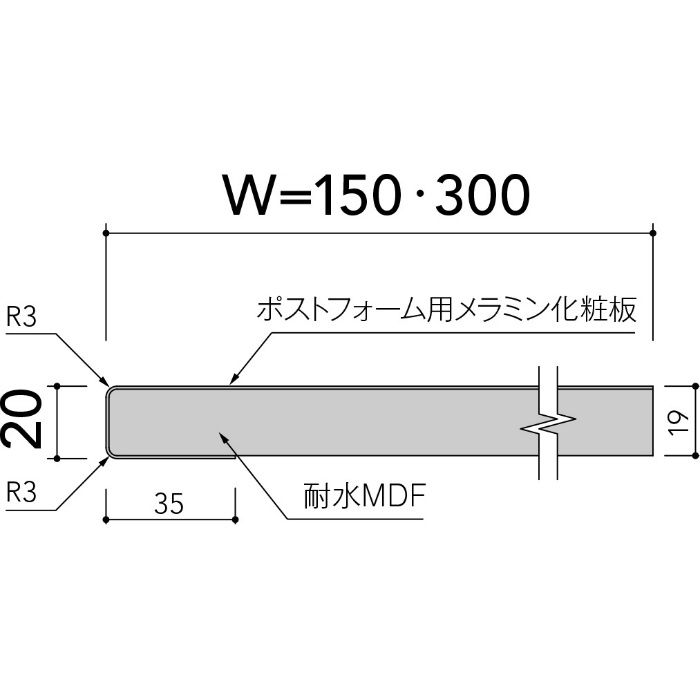 即納ポストフォームカウンター KPA6000G1F ホワイト 20mm厚 150mm×2410mm ライニングカウンター 角エッジ 1枚