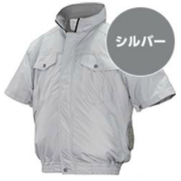 ND-111 NSPオリジナル空調服 チタン/タチエリ仕様 補強有 半袖 服単品 シルバー M