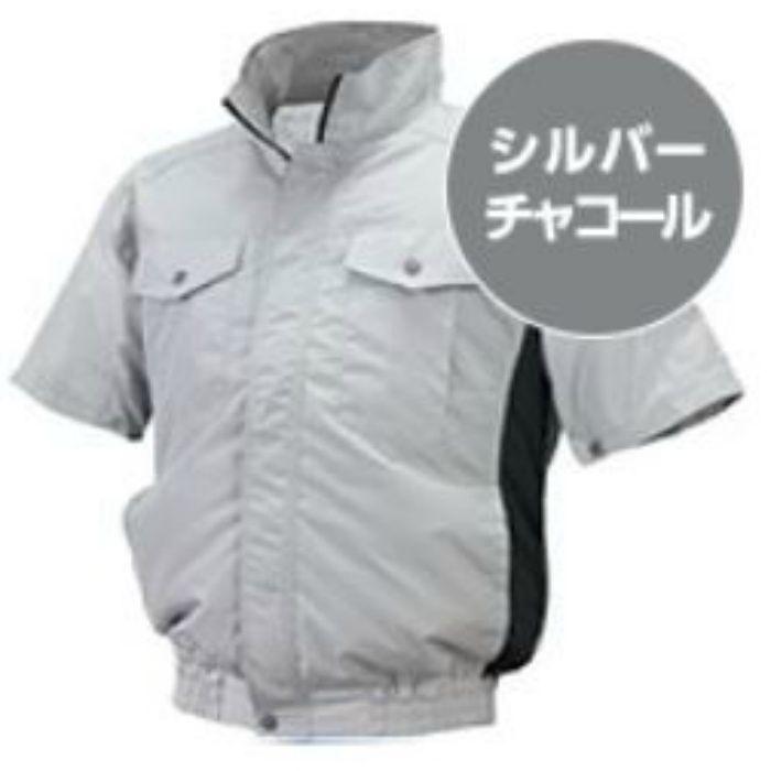 ND-111 NSPオリジナル空調服 チタン/タチエリ仕様 補強有 半袖 服単品 シルバー×チャコール L