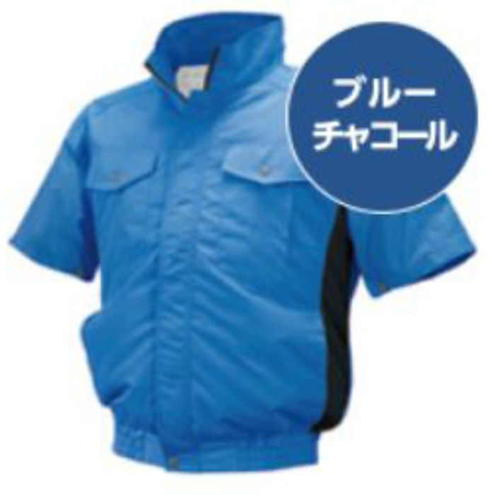 ND-111 NSPオリジナル空調服 チタン/タチエリ仕様 補強有 半袖 服単品 ブルー×チャコール M