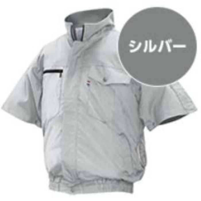 ND-201 NSPオリジナル空調服 綿/タチエリ/半袖仕様 補強無 服単品 シルバー M