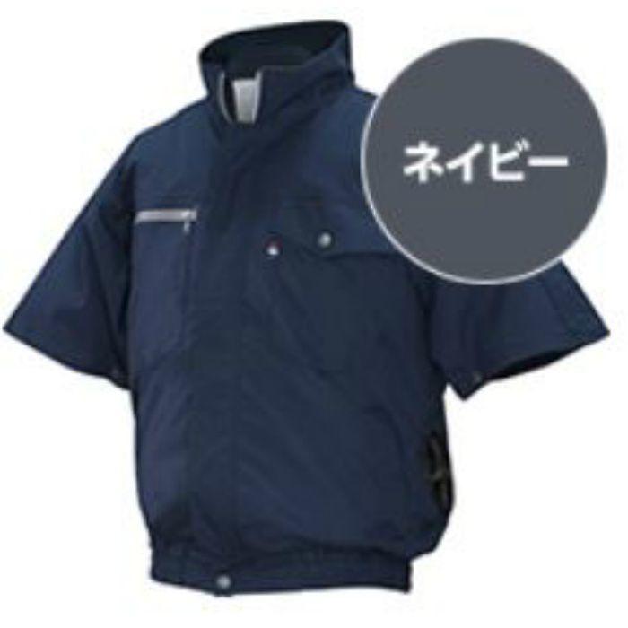 ND-201 NSPオリジナル空調服 綿/タチエリ/半袖仕様 補強無 服単品 ネイビー 4L