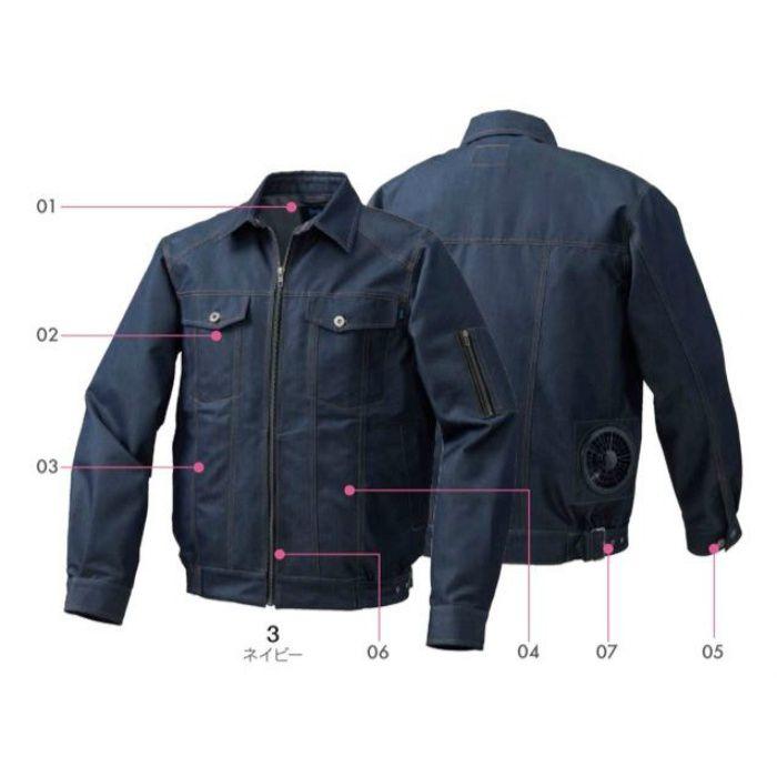 KU91960 綿・ポリ混紡デニム調空調服TM(ウェアのみ) ネイビー L