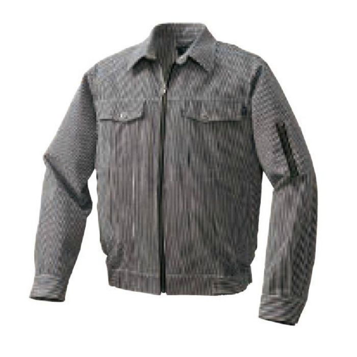 1960B20 綿・ポリ混紡デニム調空調服TM(電池ボックスセット) ブラック×ホワイト・ブラックファン LL