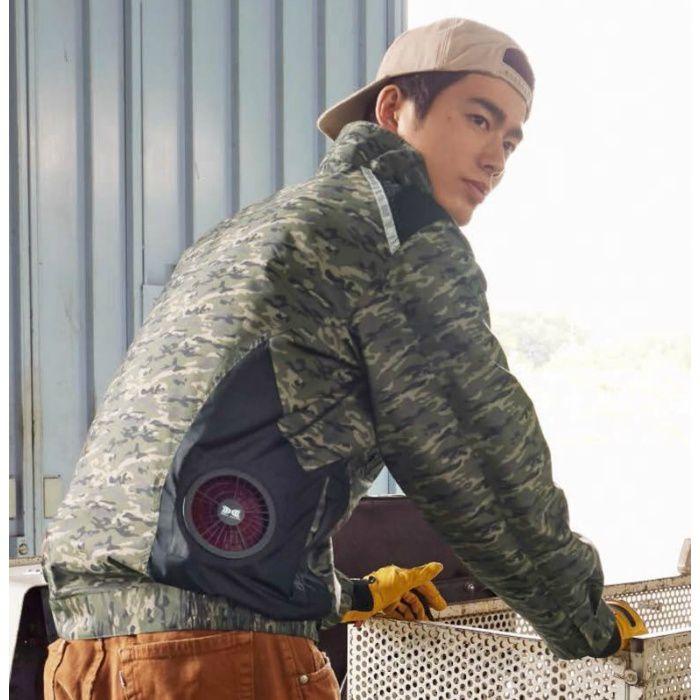 1820G22 ポリエステル製タチエリ空調服TM(大容量バッテリーセット) 迷彩×ブラック・グレーファン 4L