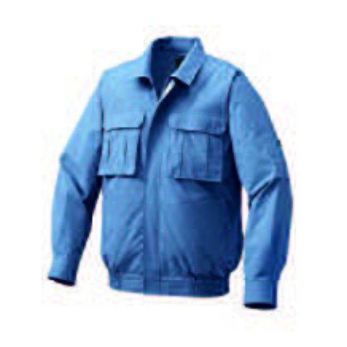 1900G22 綿薄手脇下マチ付き空調服TM(大容量バッテリーセット) ライトブルー・グレーファン M