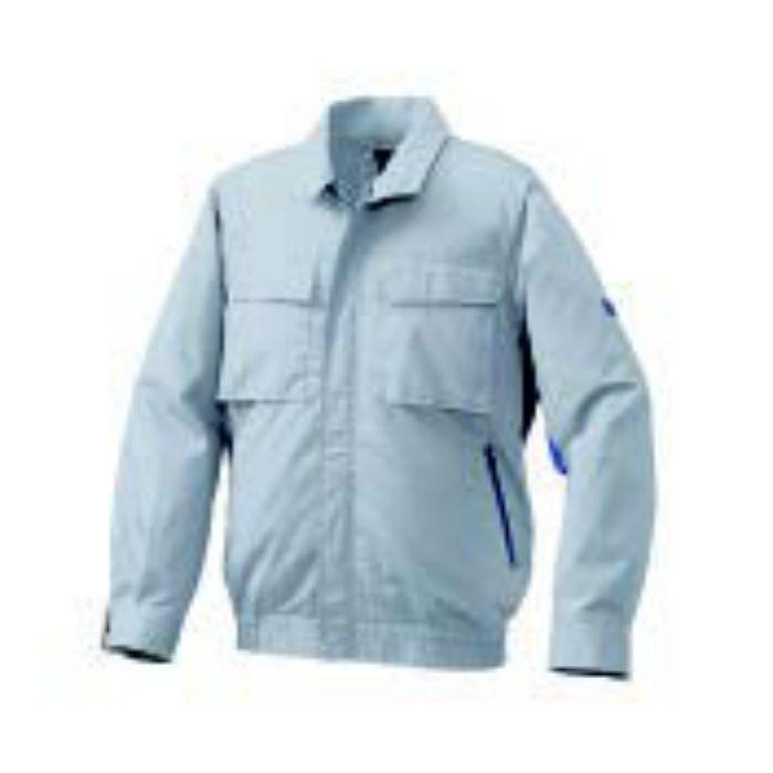 1910G22 綿・ポリ混紡脇下マチ付きⅡ空調服TM(大容量バッテリーセット) シルバー×ブルー・グレーファン LL