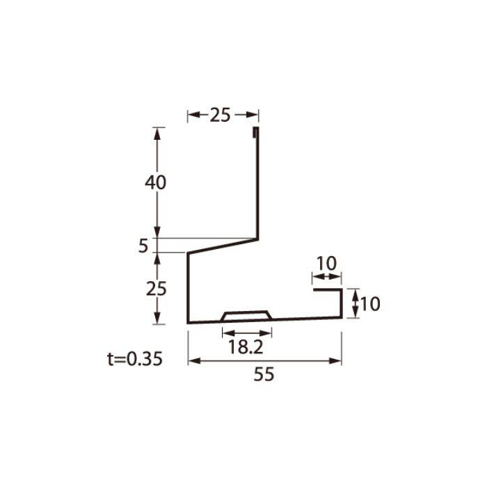 HKF-2555-30-CB オーバーハング(穴ありタイプ) 水切りタイプ シックブラウン 長さ3000mm
