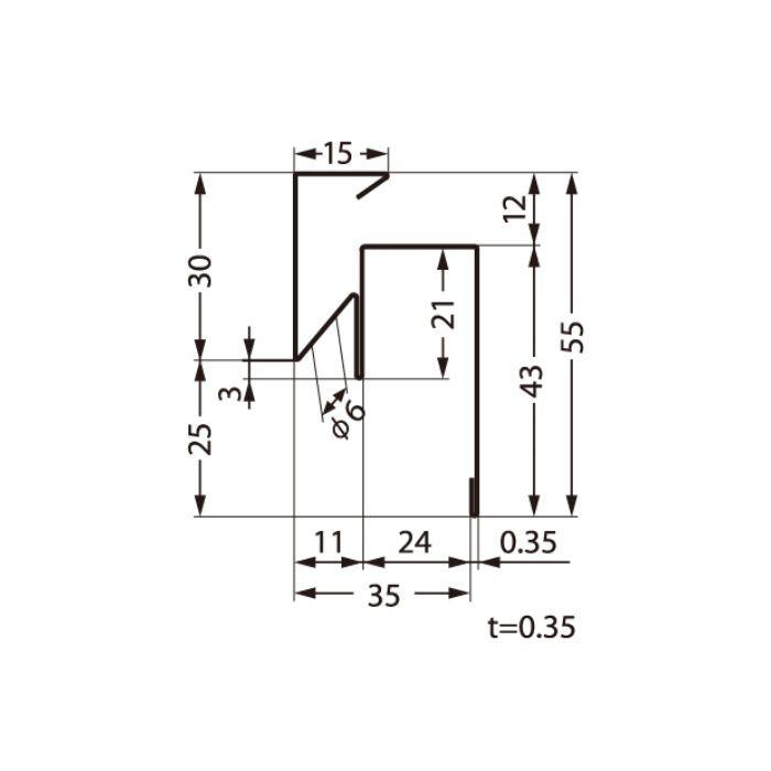 FVK-N24F-L27-AG 通気見切 アンバーグレー 外装材差込口24mm