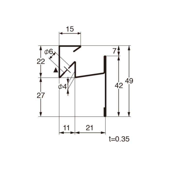 FVK-N21CF-L27-AG 通気見切(湿式外壁用) アンバーグレー