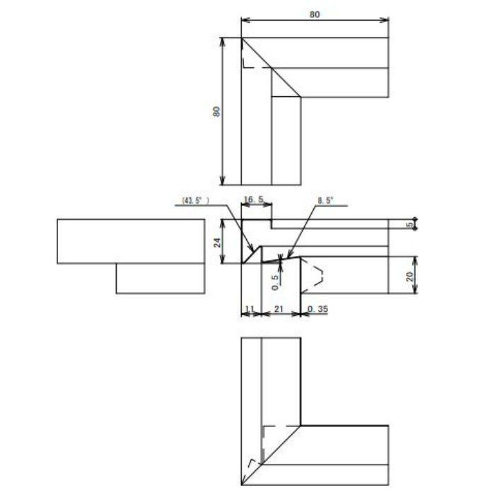 FVK-N21CFSD-AG 通気見切(湿式外壁用) 出隅 アンバーグレー
