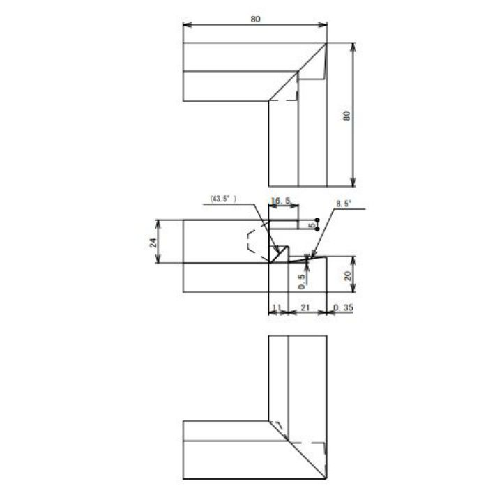 FVK-N21CFSI-AG 通気見切(湿式外壁用) 入隅 アンバーグレー