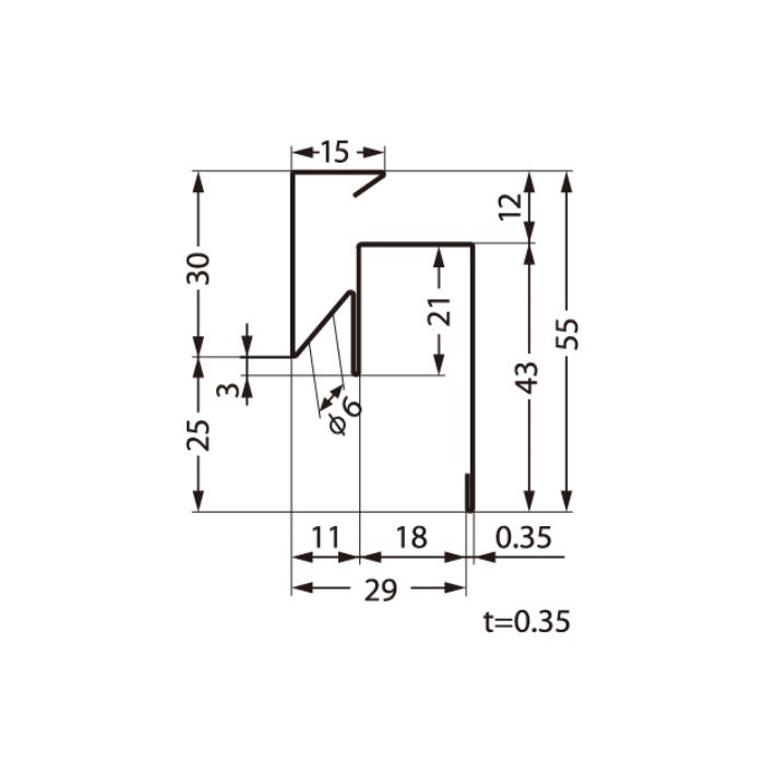 FVK-N18F-L27-CB 通気見切 シックブラウン 外装材差込口18mm