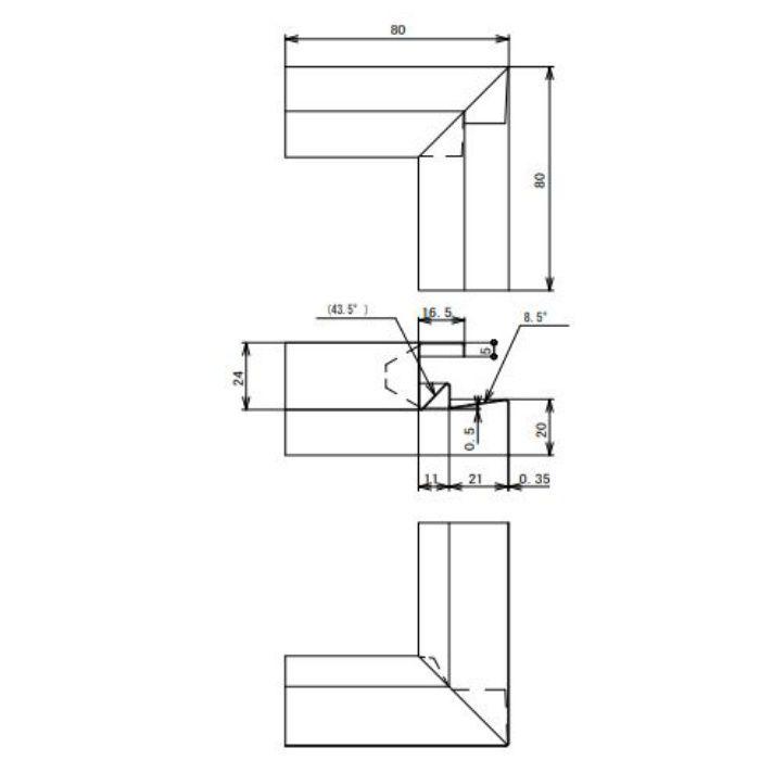 FVK-N21CFSI-BK 通気見切(湿式外壁用) 入隅 ブラック