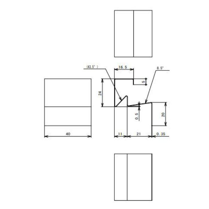 FVK-N21CFJC-BK 通気見切(湿式外壁用) ジョイントカバー ブラック