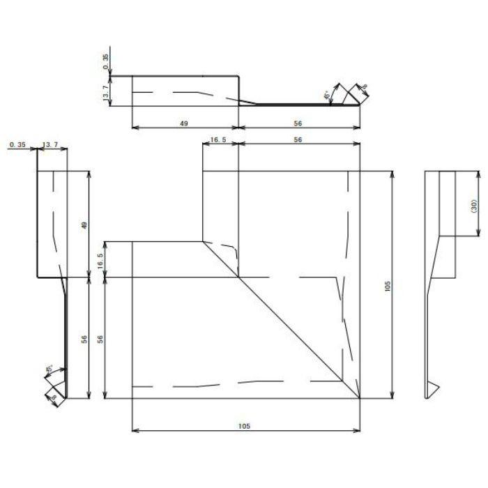 FV-N12FSI-AG 防火対応 軒天換気材(軒先タイプ) 入隅 アンバーグレー