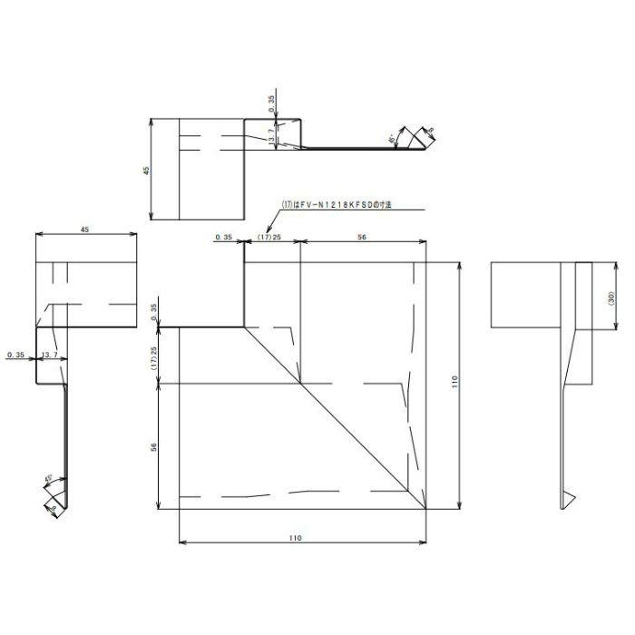 FV-N1218KFSD-WT 防火対応 軒天換気材(壁際タイプ) 出隅 ホワイト