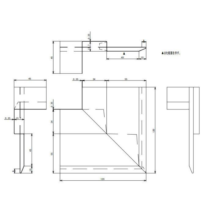 FV-N0835KFSD-SV 防火対応 軒天換気材(壁際タイプ) 出隅 シルバー