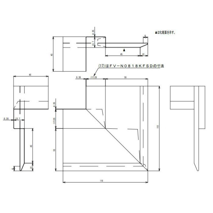 FV-N0818KFSD-CB 防火対応 軒天換気材(壁際タイプ) 出隅 シックブラウン
