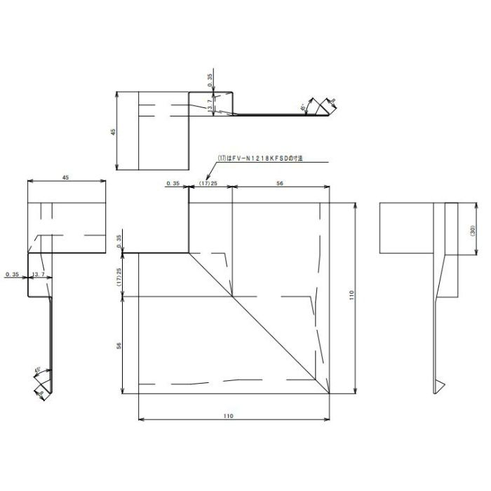 FV-N1218KFSD-BK 防火対応 軒天換気材(壁際タイプ) 出隅 ブラック