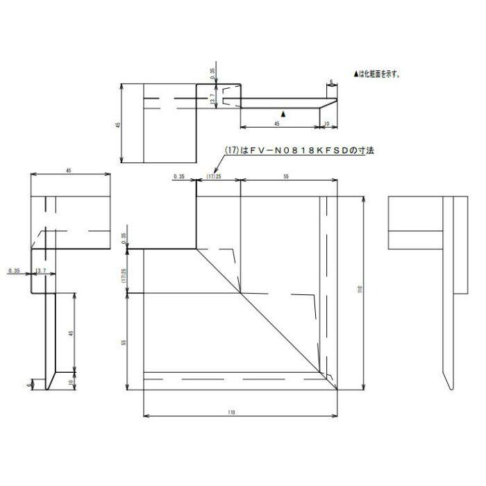FV-N0826KFSD-BK 防火対応 軒天換気材(壁際タイプ) 出隅 ブラック