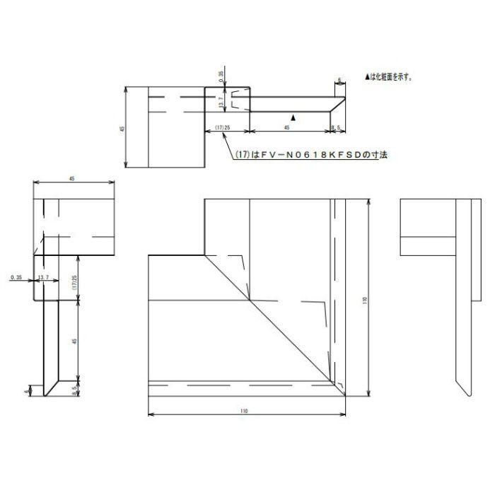 FV-N0618KFSD-AG 鋼板製 軒天換気材(壁際タイプ) 出隅 アンバーグレー