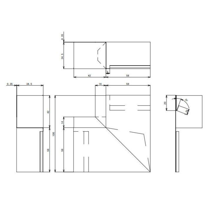 FV-N016FSD-AG 鋼板製 軒天換気材(軒ゼロタイプ) 出隅 アンバーグレー