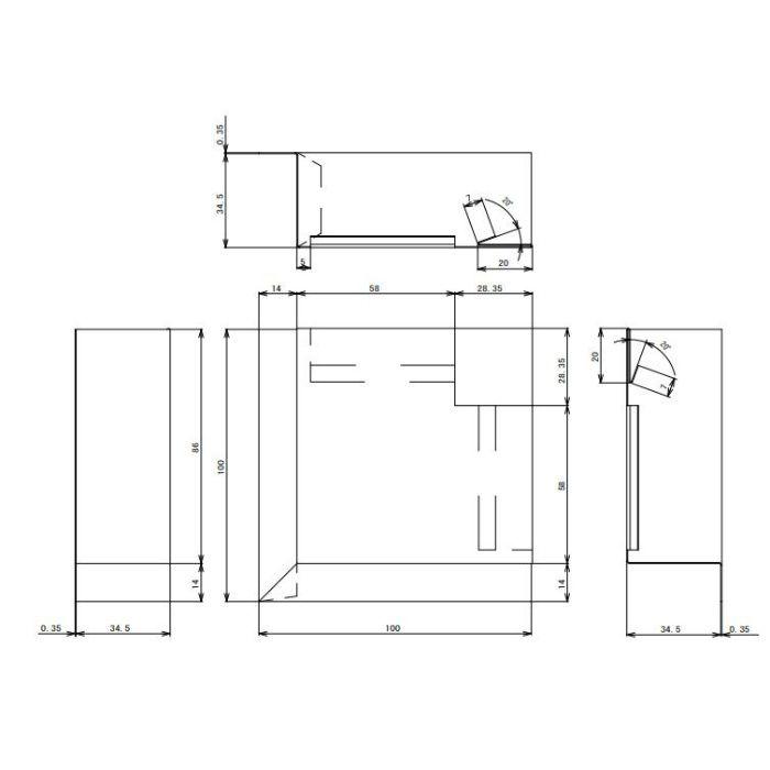 FV-N016FSI-CB 鋼板製 軒天換気材(軒ゼロタイプ) 入隅 シックブラウン