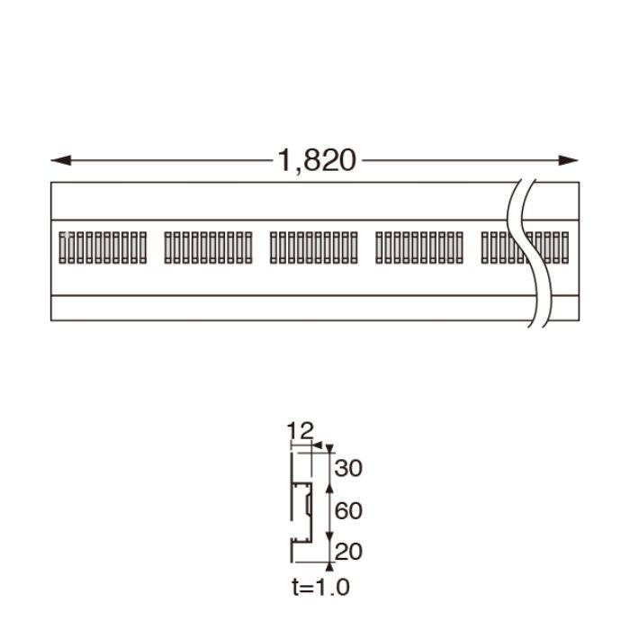 FV-N0312P-WT 樹脂製 軒天換気用見切縁 ホワイト