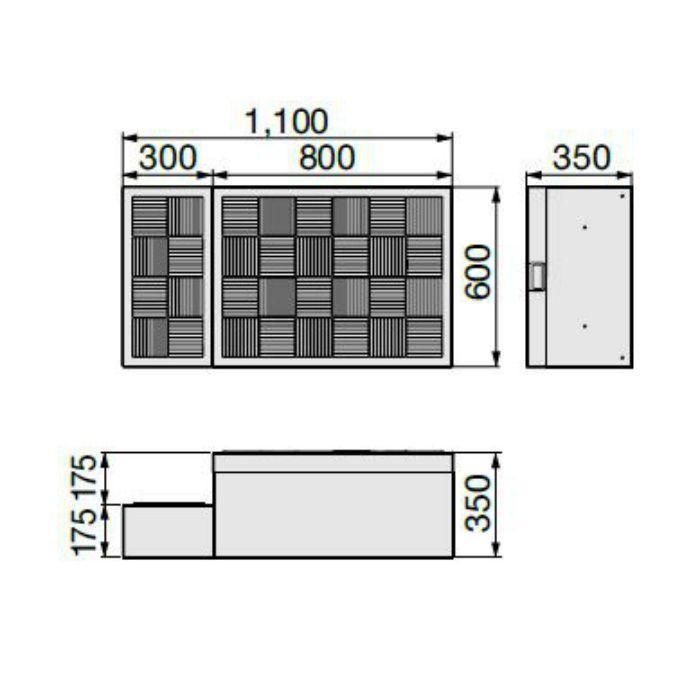 CUB-8060 ハウスステップ ボックスタイプ 小ステップあり・収納庫なし ライトグレー