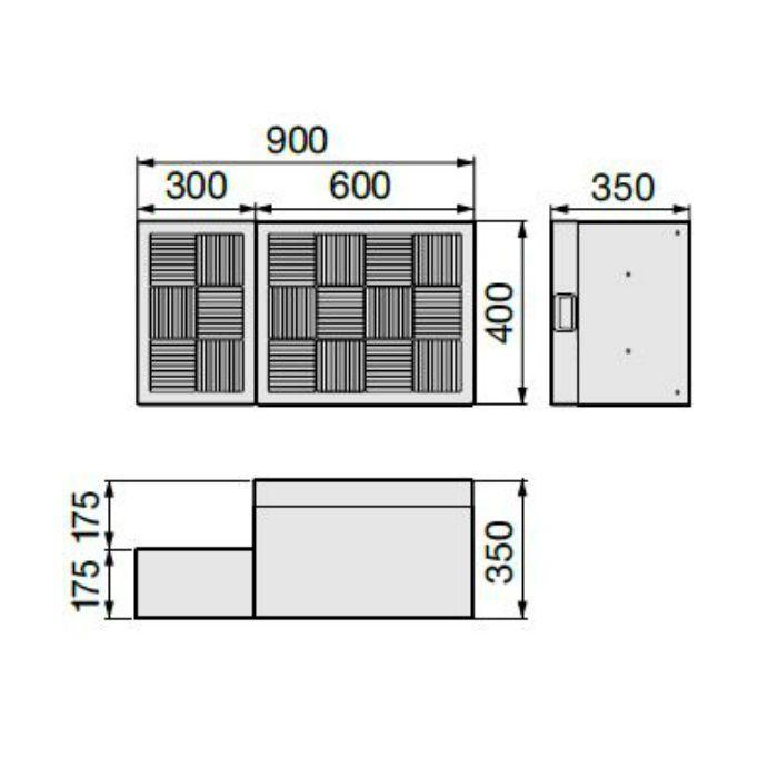 CUB-6040 ハウスステップ ボックスタイプ 小ステップあり・収納庫なし ライトグレー