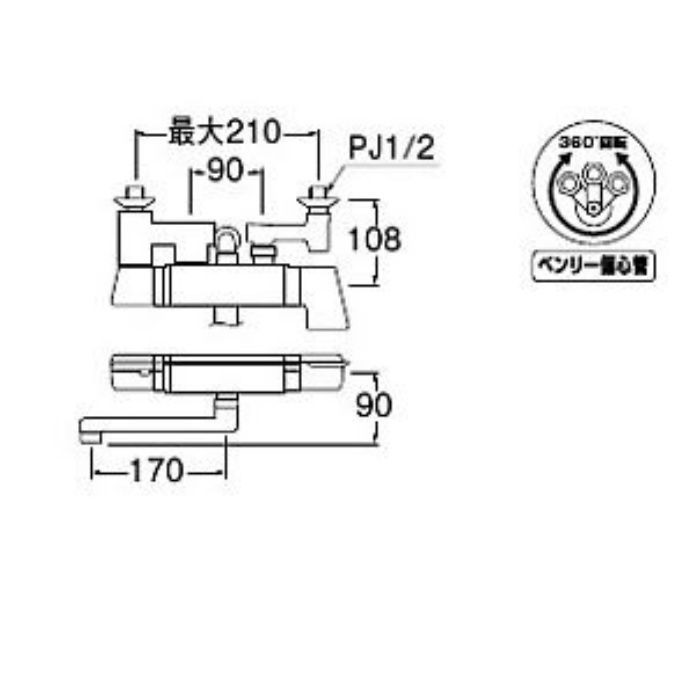 SK18121CT3UK-13 COULE サーモシャワー混合栓(レイニー付)(寒冷地用)