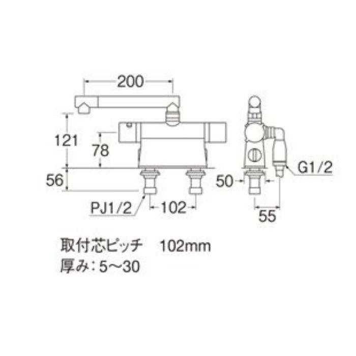 SK785DT2K-13 column サーモデッキシャワー混合栓(寒冷地用)