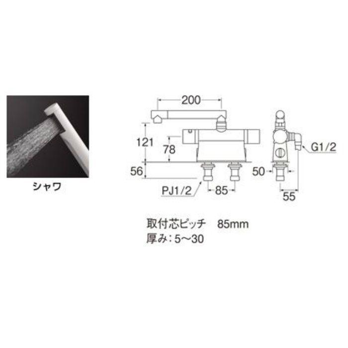 SK7850D-13 column サーモデッキシャワー混合栓