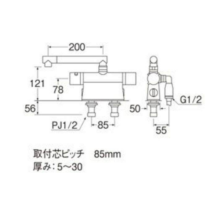 SK7850DT2K-13 column サーモデッキシャワー混合栓(寒冷地用)