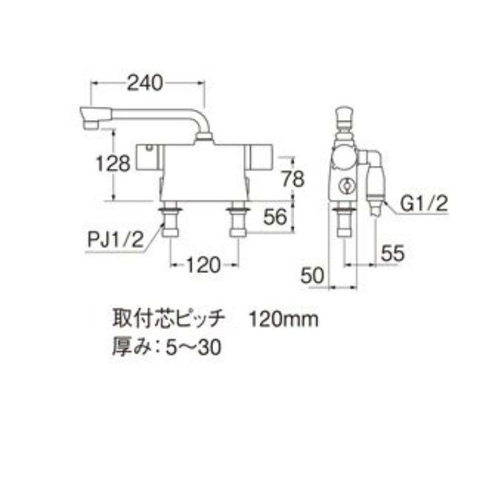 SK78501D-L-13 column サーモデッキシャワー混合栓