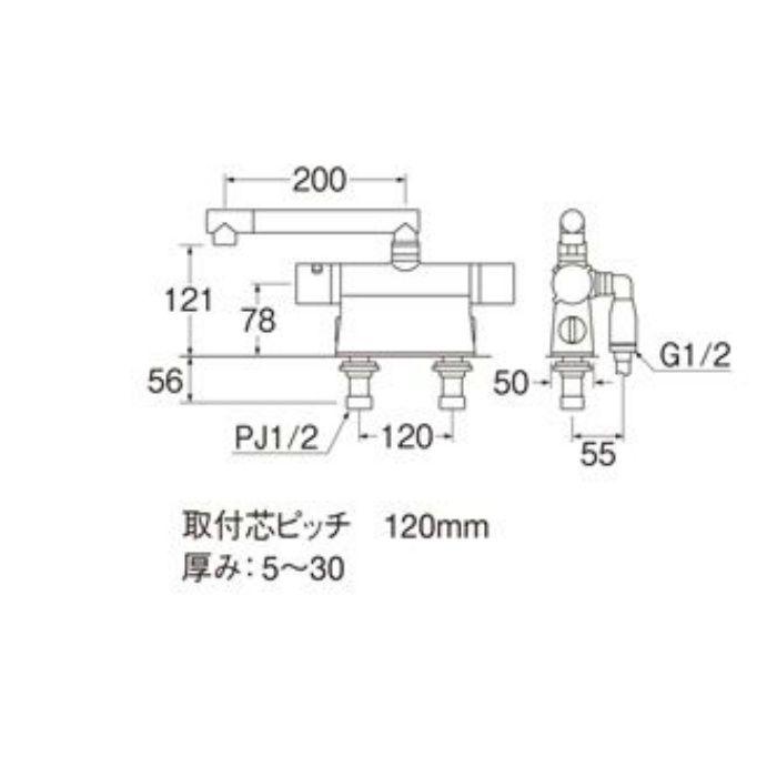 SK78501DT2K-13 column サーモデッキシャワー混合栓(寒冷地用)