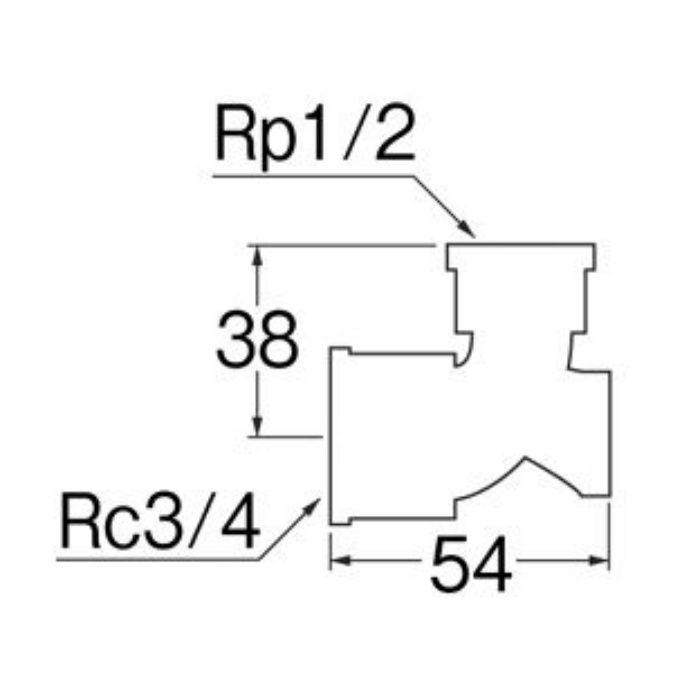 T738-1-20X13 逆座付異径水栓エルボ