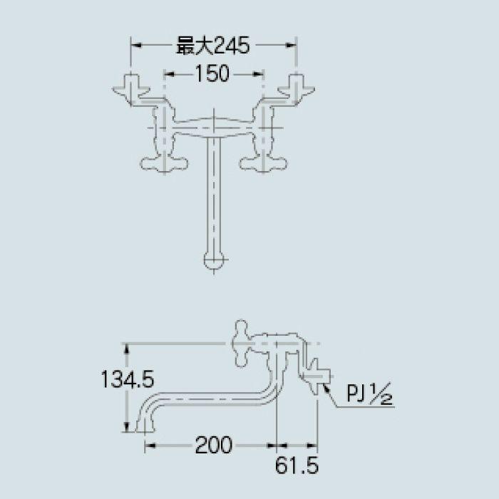 122-007-G キッチン水栓 2ハンドル混合栓 ゴールド