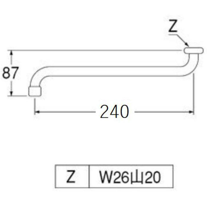 A10JH-61X2-16X240 泡沫自在パイプ 長さ240mm