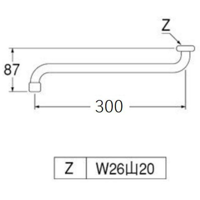 A10JH-61X3-16X300 泡沫自在パイプ 長さ300mm
