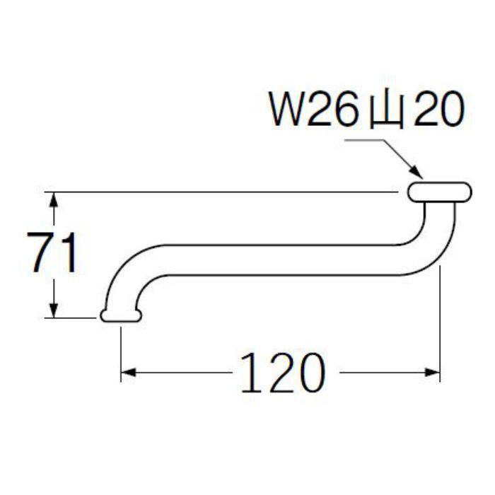 PA10J-61X1-16 自在パイプ 長さ120mm