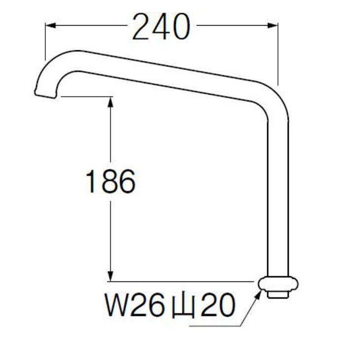 A230-61X2H-16 腰高上向パイプ 長さ240mm