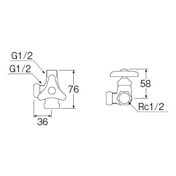 B4121-L-13 ストレート分岐バルブ(共用形)
