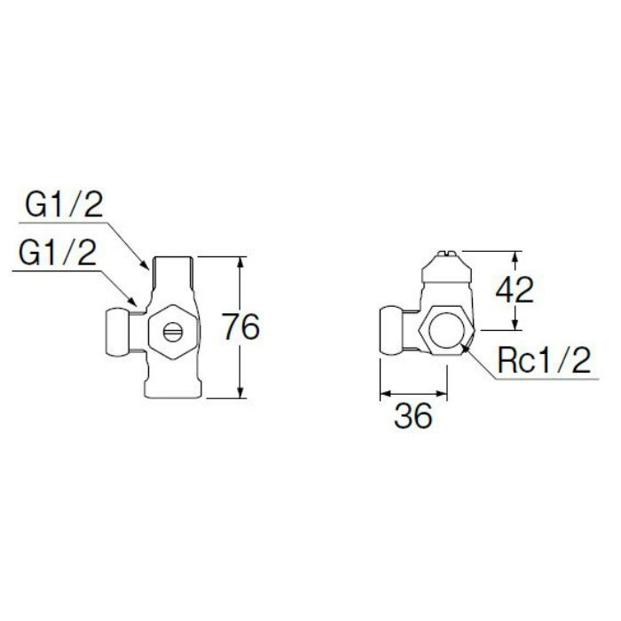 B4121D-L-13 D式ストレート分岐バルブ(共用形)