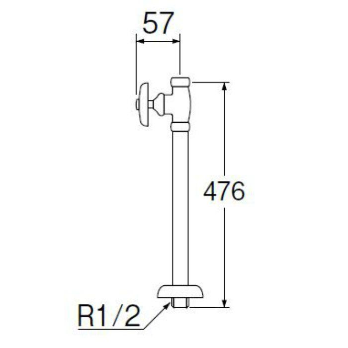 V21JS-X-13X420 ストレート形止水栓(共用形) ナット付 長さ420mm