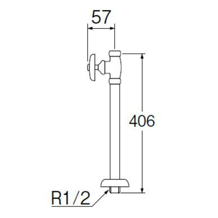 V21JS-X2-13X350 ストレート形止水栓(共用形) ナットなし 長さ350mm