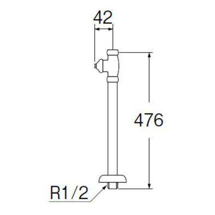 V21JSD-X2-13 D式ストレート形止水栓(共用形) ナットなし